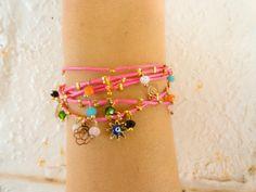 Pink boho bracelet pink boho jewelry neon ethnic by Handemadeit, $23.00