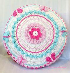 CROCHET PILLOW Crochet CUSHION Butterfly mandala pillow cotton crochet pillow crochet nursery pillow childrens pillow Baby girl shower gift