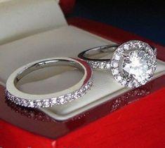 Round Cut Diamond White Gold Finish Wedding Women's Engagement Bridal Ring Set #aonedesigns #EngagementWeddingAnniversaryBirthdayGiftParty