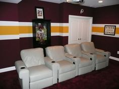 Whether it's maroon walls that utilize the molding to accent the gold or a horizontal accent stripe replicating the team's uniform stripe, matching the colors and imaginatively applying them to the wall with a paintbrush can result in a truly unique sports team inspired room!
