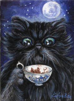 ACEO Original by Katya * Black Persian Cat * Cup of Coffee | eBay