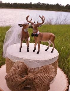 """Grooms Cake, Deer Buck and Doe, (Kit May Vary) on White with Burlap, White ONLY, Single or Double Layer, 8"""", 10, or 12"""""""