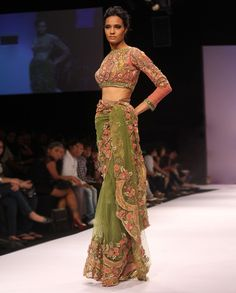 henna green sari with pink french lace.