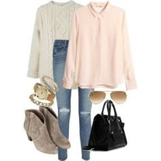 """eleanors-clothes: """" Untitled by featuring faded blue jeans """" Blue Jeans, Back To School, Winter Outfits, My Style, Casual, Pants, Clothes, Collage, Calm"""