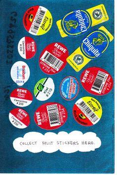 """Fruit sticker postcard from """"Juniper Pearl"""" in Germany."""