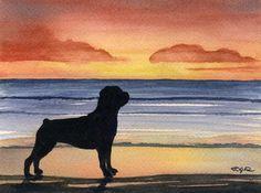 ROTTWEILER SUNSET Beach Dog Art Print Signed by Artist DJ Rogers