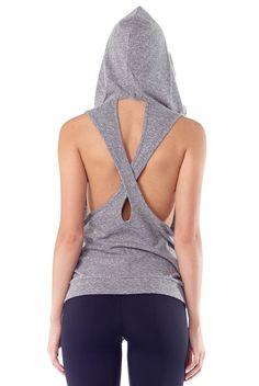 Lanston Sport Sleeveless Crossback Hoodie in Heather Grey