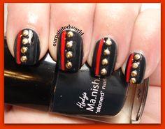 Usmc Nails, Military Nails, Marine Nails, Military Girlfriend, Military Spouse, Marine Corps Birthday, Marine Corps Ball, Fingernail Designs, Nail Polish Designs
