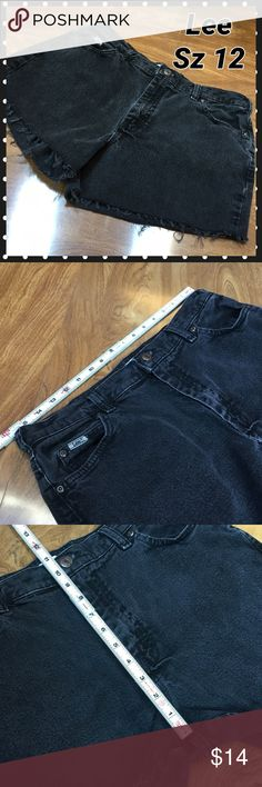 Lee cut off jean shorts Black frayed edge.  Marked as petite on tag from previous life as Jeans.  See measurement pics for sizing specifics. Lee Shorts Jean Shorts