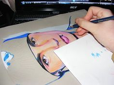me working on a colour pencil drawing.