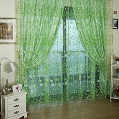 Chic Room Floral Pattern Voile Window Curtain Sheer Voile Panel Drapes Curtains