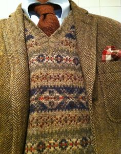Fair Isle sweater and tweed herringbone jacket