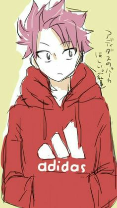 Natsu Dragneel, cute, Adidas, sweatshirt, hoodie, text; Fairy Tail