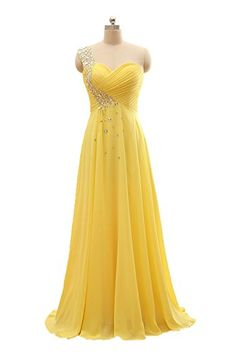 Honey Qiao Yellow Chiffon Long Prom Dresses One Shoulder Pleat Evening gowns