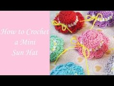 "How to Crochet a Mini Sun Hat - Free Crochet Pattern from Crafty Guild Materials Needed: * size 10 crochet thread (3 colors of your choice) *  ...  mm crochet hook * scissors * yarn needle Gauge: 9 DC = 1"" Abbreviations: SC - Single Crochet DC. Crochet, How, Pattern, Hat,..."