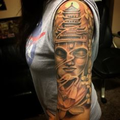 Buddha sleeve by Oscar Moreno Tattoos Spooksink