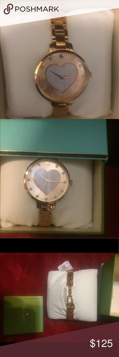 KATE SPADE WATCH Rose gold Round with heart of pearls ❤️ in the middle. Has Rose gold Bracelet strap that makes this time piece a one of a kind. The numbers have been replaced with pearls.  kate spade Accessories Watches