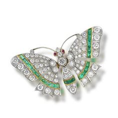 Bonhams 1793 : A ruby, emerald and diamond butterfly brooch