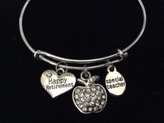 Teacher Retirement and Apple Charm on a Silver expandable bangle Bracelet Great Teacher Appreciation Gift