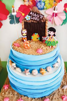 Tropical Oasis Hawaiian Luau Birthday Party: Tiki shack topped beach birthday cake with chocolate sea shells & ombre waves Luau Birthday Cakes, Luau Cakes, Beach Cakes, Birthday Cake Girls, 1st Birthday Parties, Summer Birthday, 9th Birthday, Birthday Ideas, Hawaiian Luau Party