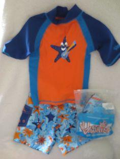 UV Skinz Toddler Boy Swimming Short Set UPF 50  Size 2T Blue Star  NWT #UVSkinz #Set
