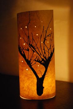 paper lantern with blown ink tree