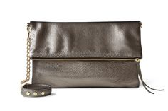 Chloe Foldover Bracelet Clutch / Genuine Leather / Handcrafted in San Francisco / Pewter Metallic