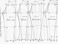 A Tailor Made It: Trouser pattern shapes  c.1850 from The Cut of Men's Clothes by Norah Waugh