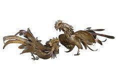 Midcentury Brass Roosters, Pair on OneKingsLane.com