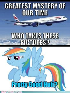 little girl:*looks out window* mommy look its rainbow dash! mom:yeeeaaaa sure-what THE HECK A FLYING HORSE!             i got that from @Globewarm