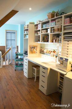 Craft desk organization diy sewing rooms 32 ideas for 2019 Sewing Room Organization, Craft Room Storage, Storage Ideas, Sewing Room Decor, Sewing Rooms, Craft Desk, Craft Rooms, Craft Room Design, Quilting Room