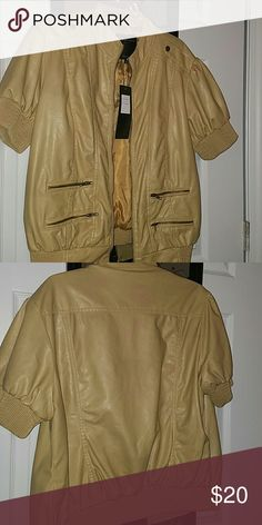 1/4 SLEEVE JACKET Mustard 1/4 Sleeve Pleather Jacket Brand new and never worn Tags still on 10 therapy Jackets & Coats Utility Jackets