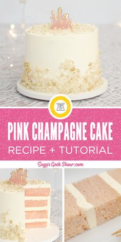 Pink Champagne Cake Recipe – Sugar Geek Show - The best pink champagne cake made with real champagne, light and fluffy vanilla buttercream frosting and decorated with beautiful rock candy and an edible pink crystal on top! Happy New Years cake anyone? Cupcake Recipes, Cupcake Cakes, Cake Fondant, Cake Icing, Dessert Recipes, Just Desserts, Delicious Desserts, Pink Champagne Cake, Recipe For Champagne Cake