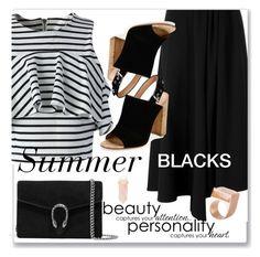 """Summer blacks"" by perlarara ❤ liked on Polyvore featuring Jacquie Aiche, Gucci, Chicwish, Yohji Yamamoto, Gianvito Rossi and Kattri"