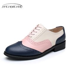 f9024237c5d8e Women flats oxford shoes genuine leather vintage flat shoes round toe  handmade blue pink beige 2017