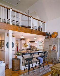 KITCHEN – with loft above kitchen, open to living room. Eccentric Kitchen