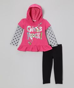 Take a look at this Pink 'Girls Rock' Layered Tunic & Leggings - Infant & Toddler by Young Hearts on #zulily today!