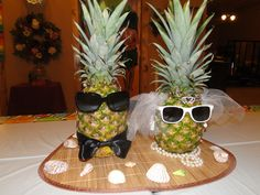"""I made this """"Bride & Groom"""" centerpiece for my daughter's Hawaiian Luau personal bridal shower..."""