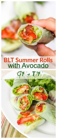 BLT Summer Rolls with Avocado - who needs the bread anyway when with thin rice paper wrappers you can get to all the star ingredients right away! Less calories, less carbs, more flavor. Gluten Free and Dairy Free. Perfect for lunch or a light dinner.: