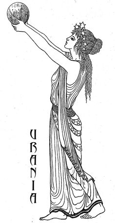 """Urania -  the """"Heavenly"""" is the muse of Astronomy and is represented by a staff pointed at a celestial globe. She foretells the future by the position of the stars. Art by Katlyn"""