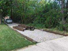 Railroad ties for driveway. Railroad ties for driveway. Rock Driveway, Driveway Border, Diy Driveway, Gravel Driveway, Driveway Entrance, Gravel Patio, Driveway Landscaping, Outdoor Landscaping, Driveway Ideas