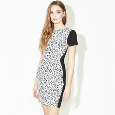 Leopard Dress - We're so in love with this pretty pastel leopard print dress. Featuring a tailored, figure flattering shape with a high neck, fitted waist and tulip skirt creating a beautiful silhouette. Fully Lined. Tulip Skirt, Leopard Spots, Leopard Dress, Pretty Pastel, Dress Patterns, High Neck Dress, Short Sleeve Dresses, Dresses For Work, Nude