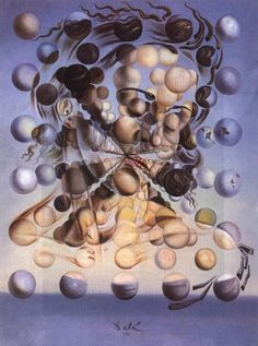 """""""Galatea of the Spheres"""" in 1952 by Salvador Dalí (Figueres 1904 - 1989). Oil on canvas (65cm.x54cm.). Depicts the head and shoulders of Gala, Dalí's wife and muse, as a series of spheres. It is a synthesis of Renaissance art and atomic theory and illustrates the ultimate discontinuity of matter, the spheres themselves representing atomic particles. Dalí described the atom as his """"favourite food for thought"""". The name Galatea refers to a sea nymph of Classical mythology renowned for her…"""