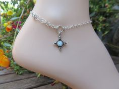 The 'Delilah' Opal Silver Ankle Bracelet by FayWestDesigns on Etsy, $24.00