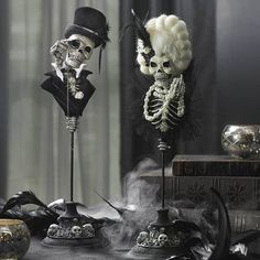 Practice the art of eerily elevated Halloween decorating, when you introduce our Male and Female Skull Busts on Stands to your gallery of ghoulish characters. Where art meets craft. This spine-tinglin