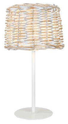 Love the wicker look! A white washed woven rattan shade creates a natural look and a warm glow. #lighting #lamp