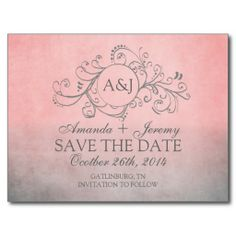 Rustic Pink and Grey Bohemian Save The Date Post Card