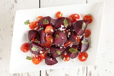 Roasted beets and tomato salad is such a beautiful summer dish. Great as a starter or as a side dish for any barbeque. Ready in half an hour.