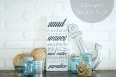 Subway Art Beach Sign - The Crafted Sparrow