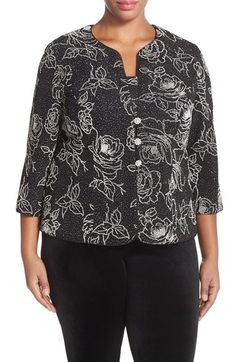 Alex Evenings Piped Floral Jacquard Twinset (Plus Size) available at #Nordstrom